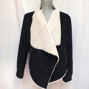 Bershka Faux Shearling Wrap Jacket